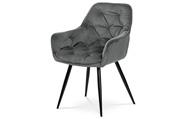 Jídelní židle, šedá sametová látka, kovová čtyřnohá podnož, černý matný lak
