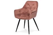 Jídelní židle, starorůžová sametová látka, kovová čtyřnohá podnož, černý matný l