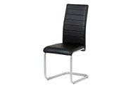 Jídelní židle, potah černá ekokůže, kovová podnož, šedý matný lak