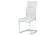 Jídelní židle, potah bílá ekokůže, kovová podnož, šedý matný lak