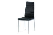 Jídelní židle koženka černá / šedý lak