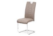 Jídelní židle, coffee látka, kovová pohupová chromovaná podnož