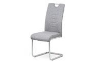 Jídelní židle, stříbrná látka, kovová pohupová chromovaná podnož