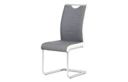 Jídelní židle chrom / šedá látka + bílá koženka