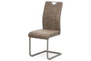Jídelní židle, lanýžová látka v dekoru vintage kůže, bílé prošití, kov-lanýž.lak