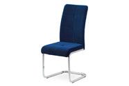 Jídelní židle, potah korálově modrá sametová látka, kovová pohupová chromovaná p