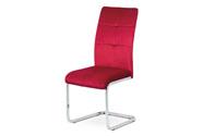 Jídelní židle, červená sametová látka, kovová pohupová chromovaná podnož