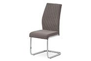 Jídelní židle, lanýžová sametová látka, kovová pohupová chromovaná podnož