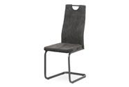 Jídelní židle, potah šedá látka v dekoru vintage kůže, kovová pohupová podnož, š