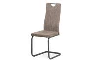 Jídelní židle, potah lanýžová látka v dekoru vintage kůže, kovová pohupová podno