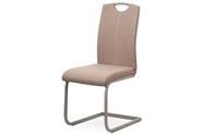 Jídelní židle, potah krémová látka, bílé prošití, kovová pohupová podnož, lanýžo
