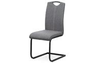 Jídelní židle, potah šedá látka, bílé prošití, kovová pohupová podnož, černý mat