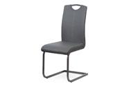Jídelní židle, potah šedá ekokůže, kovová pohupová podnož, šedý lak