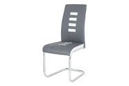 Jídelní židle, potah kombinace šedé a bílé ekokůže, kovová pohupová podnož, chro