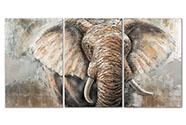Obraz - slon, ruční olejomalba na plátně.  Sada 3 kusy,
