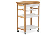 Servírovací stolek / regál policový na kolečkách, masiv bambus, přírodní odstín