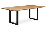 Jídelní stůl 180x90x75 cm, masiv dub, povrchová úprava olejem, kovová podnož 8x4