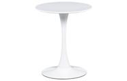 Jídelní stůl pr.60x72 cm, bílá matná MDF, kov bílý vysoký lesk