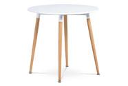 Jídelní stůl pr.80 cm, bílá matná MDF, kov buk + chrom