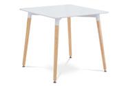 Jídelní stůl 80x80x76 cm, MDF / kovová kostrukce - bílý matný lak, dřevěné nohy