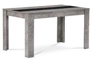 Jídelní stůl 138x80x74 cm, MDF, lamino dekor beton, dekorační pruh v černé a bíl