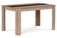 Jídelní stůl 138x80x74 cm, MDF, lamino 3D dekor dub sonoma, dekorační pruh v čer