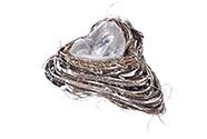 Obal ratanový s fólií a kůrou, tvar srdce. Cena za 1ks.