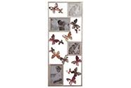 Kovová nástěnná dekorace s foto rámečky a dekorem motýlů