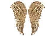 Křídla andělská z kovu, v barvě zlaté. Cena za pár.