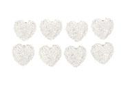 Srdce bílé zdobené, dekorace z polyresinu na nalepení. 8 kusů v krabičce, cena z