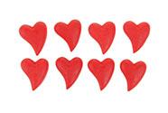 Srdce červené, dekorace z polyresinu na nalepení. 8 kusů v krabičce, cena za 1 k