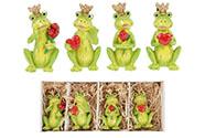 Žába s korunkou, držící srdce nebo růži. 4 kusy v krabičce,. Dekorace z polyresi