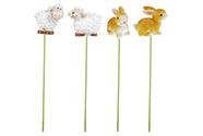 Zajíci a ovečky - zápich. Dekorace z polyresinu. Cena za 1 krabičku 24 kusů