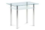 Jídelní stůl 90x60 cm, číré/mléčné sklo temperované + chrom