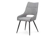 Jídelní židle - látka šedá, černá paspule, kovová podnož, černý matný lak