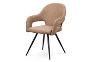 Jídelní židle, cappuccino látka, kovová podnož, černý matný lak