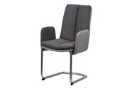 Konferenční a jídelní židle, látka světle / tmavě šedá, kovová pohupová podnož,