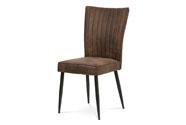 Jídelní židle, hnědá látka v dekoru broušené kůže, broušený kov antik