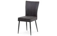 Jídelní židle látka šedá v dekoru vintage kůže,  broušený kov antik