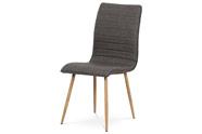 Jídelní židle, coffee látka, kovová 4 nohá podnož, 3D dekor dub