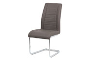 Jídelní židle - cappuccino ekokůže, kovová chromovaná podnož