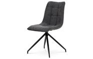 Jídelní židle, šedá látka + ekokůže, kov antracit