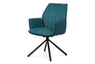 Jídelní a konferenční židle, modrá ekokůže / látka, kovová podnož, černý matný l