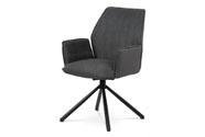 Jídelní a konferenční židle, šedá ekokůže / látka, kovová podnož, černý matný la