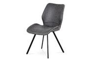 Jídelní židle, potah šedá látka v dekoru vintage kůže, bílé prošití,  kovová čty