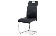 Jídelní židle, potah černá ekokůže, bílé prošití, kovová pohupová podnož, chrom