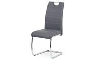 Jídelní židle, potah šedá ekokůže, bílé prošití, kovová pohupová podnož, chrom