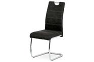 Jídelní židle, potah černá látka COWBOY v dekoru vintage kůže, kovová pohupová c