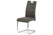 Jídelní židle, potah antracitově šedá látka COWBOY v dekoru vintage kůže, kovová