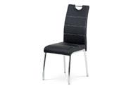 Jídelní židle, potah černá ekokůže, bílé prošití, kovová čtyřnohá chromovaná pod
